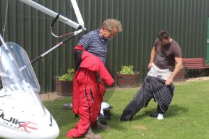 dressing ready for take off in a microlight